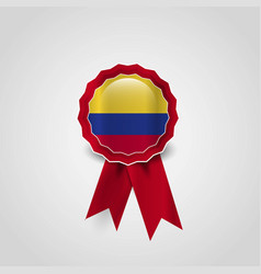 colombia flag badge design vector image