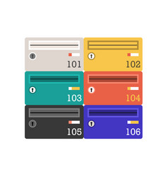 Colorful letterboxes or mail post icon vector