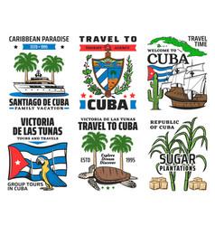 Cuba tourist travel caribbean vacation icons vector