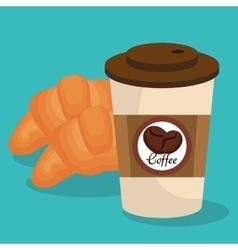 Delicious bread and coffee vector