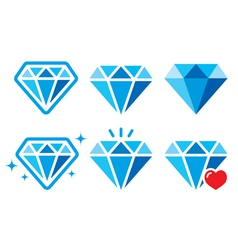 Diamond luxury blue icons set - wealth con vector image