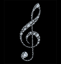 Diamond treble clef vector