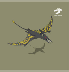 dinosaur pterodactylus in isometric style vector image
