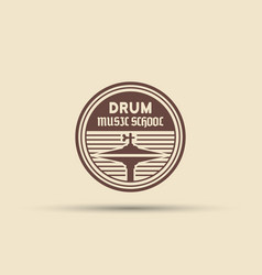 Drum school isolated round emblem vector