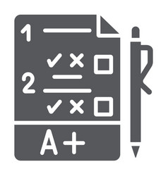exam glyph icon questionnaire and form task sign vector image