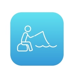 Fisherman sitting with rod line icon vector image