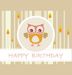 flat design birthday party card with cute owls vector image