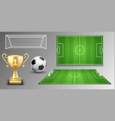 football elements soccer ball golden cup vector image