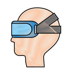 gamer with virtual reality glasses vector image