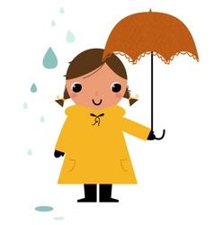 Girl in raincoat under rain vector image