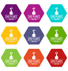 gmo plant icons set 9 vector image