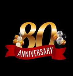 golden 80 years anniversary template with red vector image