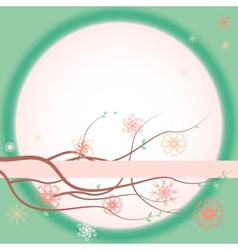 Greeting card with blooming branches vector image