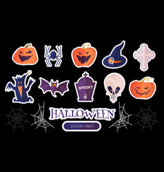 halloween cartoon elements set stickers vector image