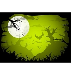 Halloween party green old movie style poster vector