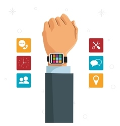 hand businessman smart watch social media vector image