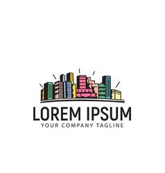 Hand drawn urban town logo design concept template vector