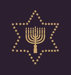 Hanukkah david star jewish holiday symbol flat vector