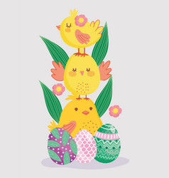 Happy easter cute pile chickens with eggs vector