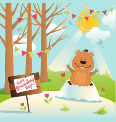 happy groundhog day design with cute and funny vector image