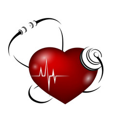heart and phonendoscope vector image