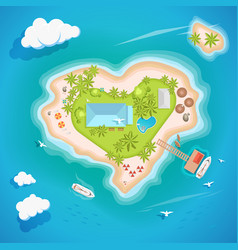 Heart island top aerial view - travel tourism vector
