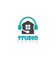 home studio record logo vector image