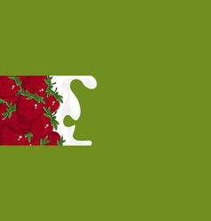 horizontal banner with strawberry vector image