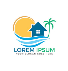 House and the beach with sun and palm tree logo vector