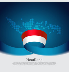 Indonesia flag background mosaic map vector