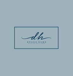 Initial letter dh logo - hand drawn signature vector