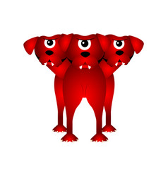 Isolated cerberus fantasy creature vector