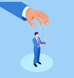 isometric businessman puppet controlled workers vector image