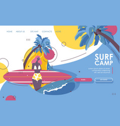 Landing page for surf school afroamerican young vector