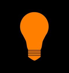 light lamp sign orange icon on black background vector image