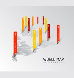 Light world map infographic template vector