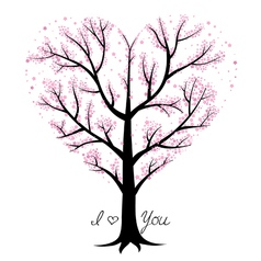 Love tree heart shaped vector