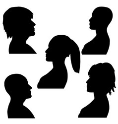 man and woman faces silhouette black and white vector image