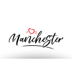 Manchester europe european city name love heart vector