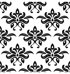 Modern foliate black and white arabesque pattern vector