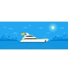 Motor yacht boat flat vector