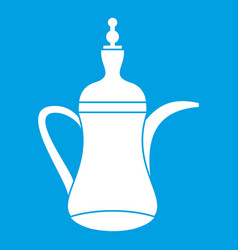 Oriental teapot icon white vector