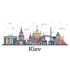 Outline kiev ukraine city skyline with color vector