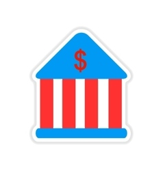 Paper sticker on white background bank building vector