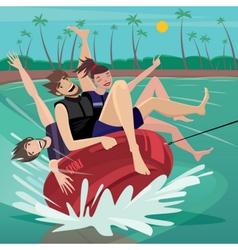 People tubing on water vector
