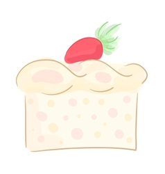 Piece of strawberry cake vector image