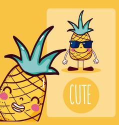 Pineapple cute cartoon vector