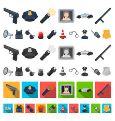 police department cartoon icons in set collection vector image