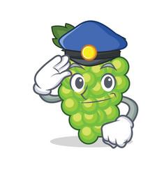 Police green grapes character cartoon vector