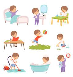 Preschool kid daily routine activities set cute vector